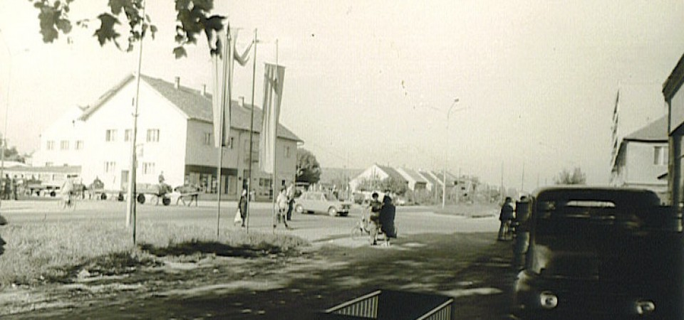 Na staroj fotografiji s druge polovine 20. veka vidi se centar Nove Pazove.