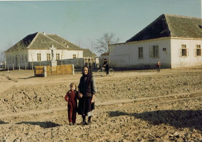 Na staroj fotogafiji s druge polovine 20.veka vidi se stara škola iz 1830.godine u Novim Banovcima.
