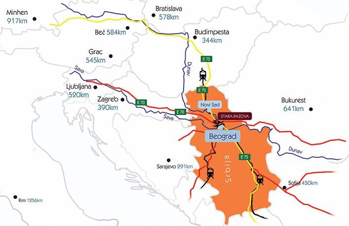 mapa opštine Stara Pazova