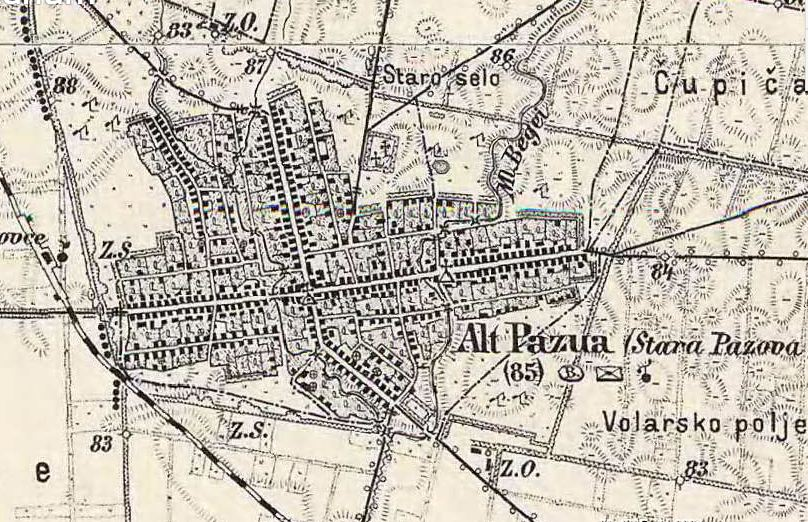 Slika br.4: Mapa Stare Pazove (1869-1887), Mađarski arhiv