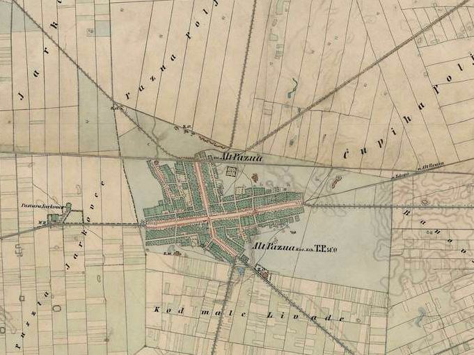 Slika br.3: Mapa Stare Pazove (1806-1869),Mađarski arhiv