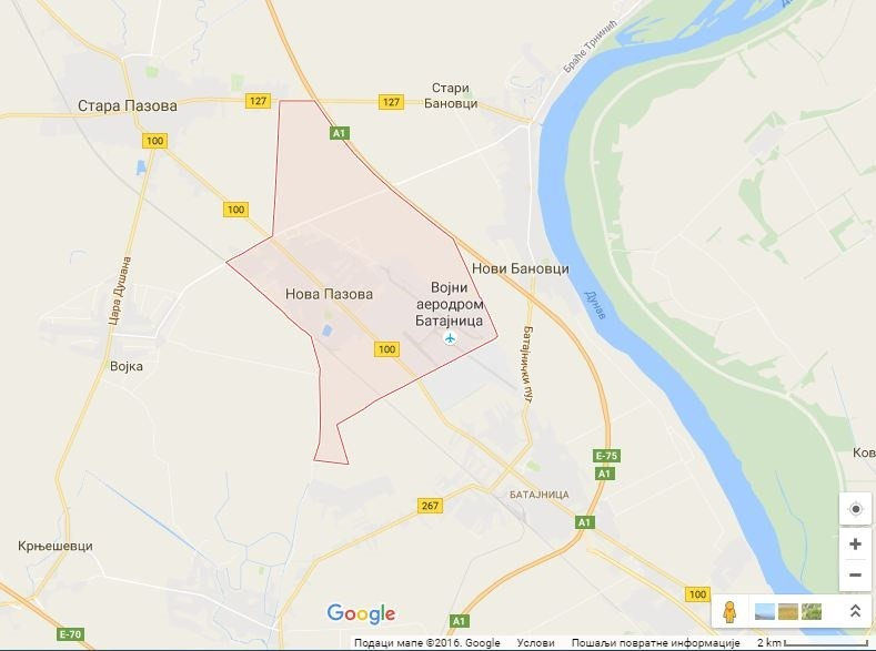 Google mapa: Nova Pazova