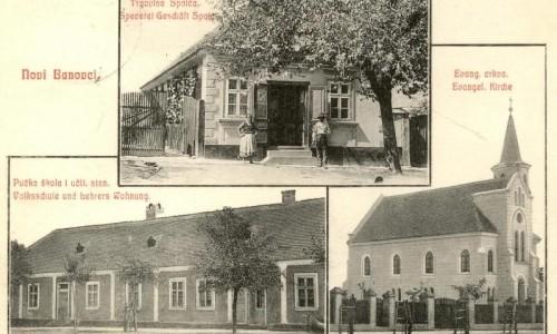 Trgovina Spaića, pučka škola i učil. stan i evang. crkva, Novi Banovci, 1915.godine