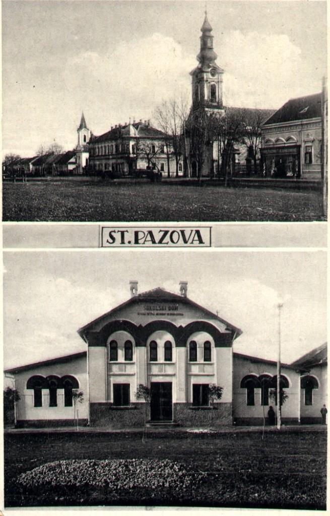 Na staroj razglednici Stare Pazove (Alt Pazna) iz prve polovine 20.veka nalazi se: centar Stare Pazove sa evangeličkom crkvom, hotelom Petrović, filijalnom katoličkom crkvom i sokolski dom iz 1931.godine (arhitekta Momir Korunović i prof. arhitekture Petar Zrnić).