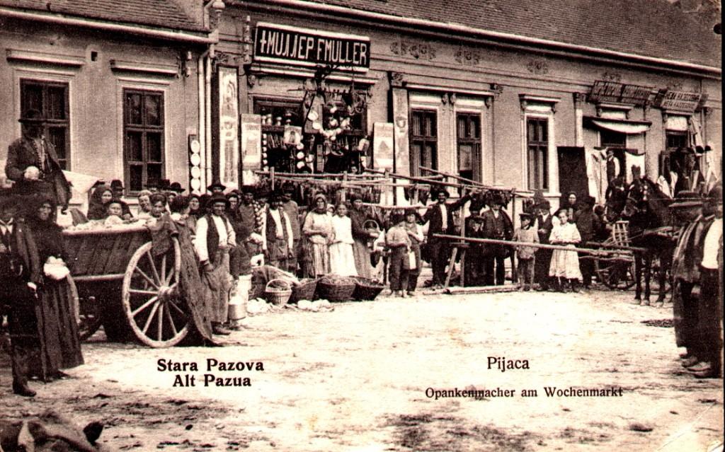 Na staroj razglednici Stare Pazove (Alt Pazna) iz prve polovine 20.veka nalazi se: centar, pijaca, ljudi u narodnoj nošnji, tezge, šinska kola, konji,radnja Miller F. Muller, u desnom donjem uglu piše Pijaca a ispod Opankenmacher am Wochenmarkt, u levom uglu piše Stara Pazova (Alt Pazova).
