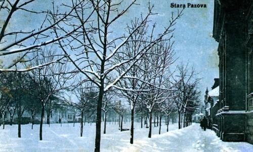 Na staroj razglednici Stare Pazove iz prve polovine 20.veka nalazi se: parohijski dom evageličke crkve pod snegom, zimsko vreme, ljudi, ulica, drvored bez lišća.