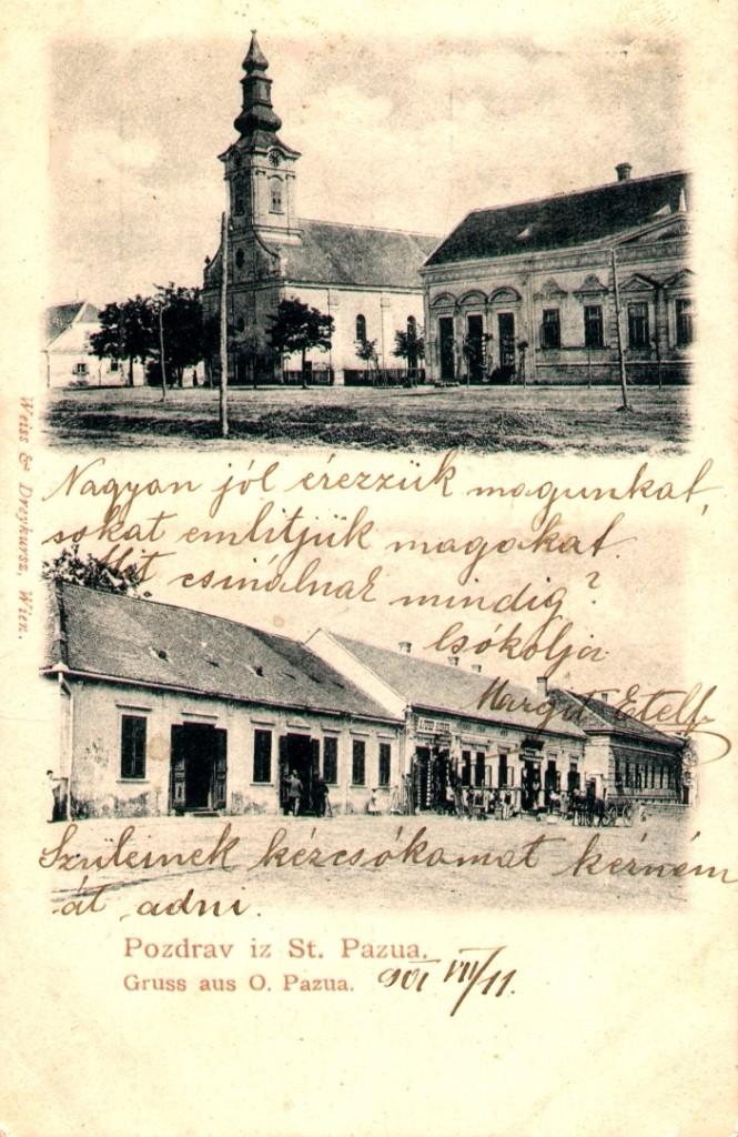 Na staroj razglednici Stare Pazove  iz prve polovine 20.veka nalazi se: Slovačka evangelička crkva iz 18. veka, kuća porodice Ljubiša, kuća porodice Petrović itd.