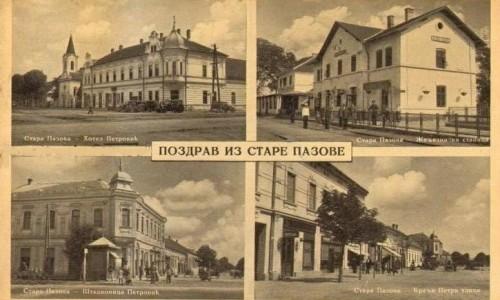 Na razglednici se nalazi Stara Pazova s prve polovine 20.veka tj. 1937.godine.Zgrade hotel Petrović, štedionica, železnička stanica i kuća trgovačke porodice Lovodić.