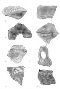 Sl.br. 4: Belegiš – Šančine – istraživanja 1963.god.: 1-3 sonda H, 2. o.s.; 4-5 – sonda H, 3. o.s., grupa keramike; 6 – sonda L, 9. o.s.; 7 – sonda J, 9. o.s.; 8 – sonda J, 12. o.s. (Muzej grada Beograda)