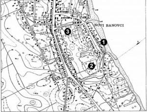 Sl.br. 6 - Novi Banovci, lok. br. 213 (Burgenae) sa bližom okolinom: 1.Gradina, 2. Groblje, 3. Ciglana ( prema Petroviću 1995: 20, sl.9)