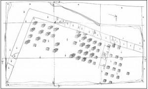 Sl.br. 7 – Osnova građevine sa hipokaustom na Gradini kod Novih Banovaca (Burgenae) ( prema Piletiću 1972: Poseban prilog VI)