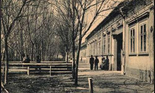 Na staroj razglednici Stare Pazove  iz prve polovine 20.veka vidi se Glavna ulica i opština.