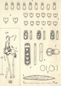 Sl.br.13 - Skelet sa pronađenim arheološkim predmetima sa lokaliteta Brdašica, Vojka (nepublikovano, dokumentacija Muzej grada Beograda)