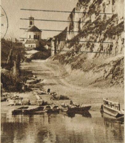 Pogled sa Dunava na crkvu, Surduk, prva polovina XX veka