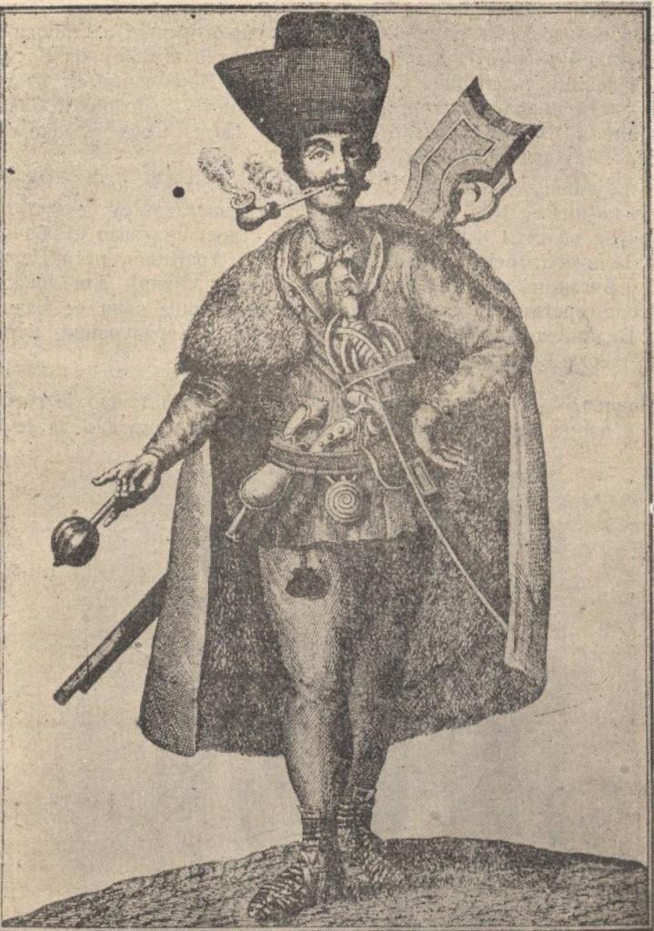 Slika br. 2: Srbin vojnik iz Srema iz 1742.god.(iz zbirke prof. M. Ibrovca)