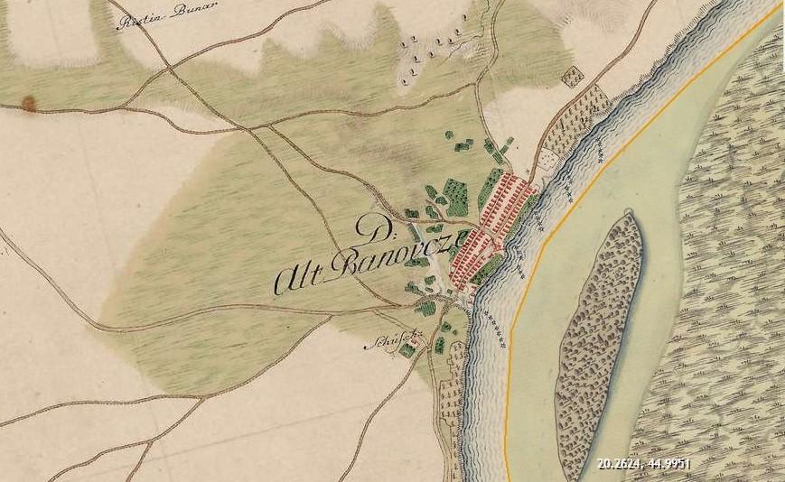 Slika br.2: Mapa Starih Banovaca (1763-1787), Mađarski arhiv