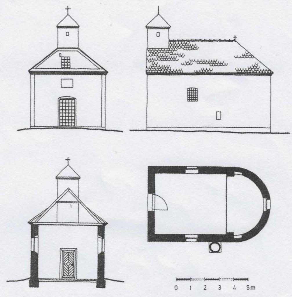 Slika br.1: Kapela Sv. Nikole, Golubinci (osnova, presek i izgled)