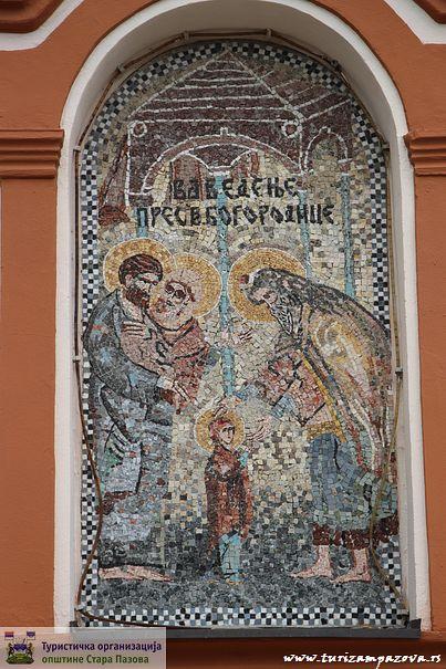 Mozaik hramovne ikone na ulazu